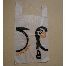 """Пакет-майка 380*600 """"Пингвин"""" 20 мкм белая"""