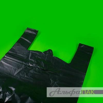 Пакет-майка 45*75 черная Люкс 25мкм